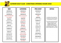 Christmas 2018 | Opening Hours